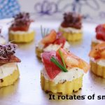 """How on earth did they come up with this one, seriously? Rueda de ahumados is a selection of smoked canapés. Whoever translated this conjugated """"rueda"""" from rodar (rotate) instead of using tray or platter.Photo: The Spanish Food"""