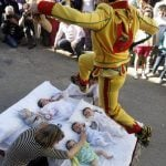 All new mums look away! El Colacho is a baby jumping festival which dates to 1620 as part of the local Corpus Christi celebrations. Men in the village of Castrillo de Murcia near Burgos dress up as devils and leap over new-borns as a bizarre way of cleansing them from original sin.Photo: Cesar Manso/AFP