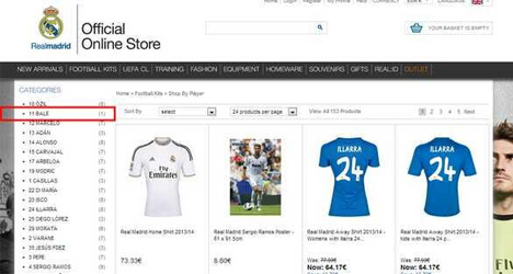 Real put shirts of transfer target Bale on sale