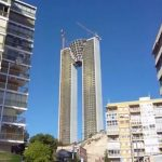 InTempo skyscraper (Benidorm): Thought to be Europe's tallest residential block, this 47-storey monstrosity has been plagued by construction and economic woes since the project began in 2005. While rumours of a missing elevator shaft proved to be false, the project has been rescued by two of Spain's 'bad banks', its creators face fraud allegations and worst of all several workers were seriously injured in 2011 when a freight elevator collapsed. Rescue workers allegedly struggled to enter the site because the constructors had skimped on costs by failing to provide a vehicle access route.Photo: YouTube
