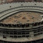 Nou Mestalla (Valencia): This partly-built 75,000-seat stadium was meant to be finished in 2009, but four years on   Valencia's Nou Mestalla is a far cry from the grandiose sporting venue the club's owners wished for. A €344 million budget proved too much for a club which was already €547 million in debt.Photo: YouTube