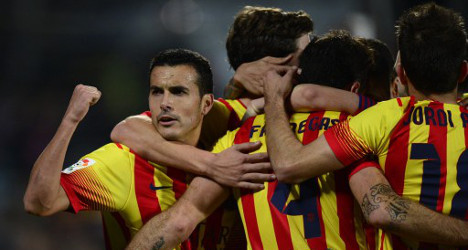 Pedro's eight-minute    hat-trick rescues Barça