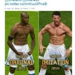 Ronaldo did it in 2014, but Italian footballer Mario Balotelli was the first to come up with the 'constipated' celebration back in 2012.Photo: Twitter