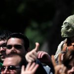 A participant in Barcelona's 9th Star Wars parade dressed up as a character from the Star Wars saga.Photo: Josep Lago / AFP