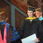 1995: Felipe is congratulated by the Georgetown University dean during his graduation.  Photo: AFP PHOTO JAMAL WILSON