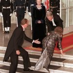 2000: Queen Sophia of Spain is aided by US President Bill Clinton and her husband King Juan Carlos of Spain as she falls during the arrival for a state dinner at the White House in Washington, DC.Photo: Chris Kleponis/AFP