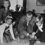 1976: Juan Carlos plays with his son and heir prince Felipe and his daughter infanta Cristina. The royals' eldest daughter  Elena isn't in the photo. Photo: AFP