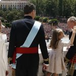 Queen Letizia, King Felipe VI, Crown Princess of Asturias Leonor and former King Juan Carlos stand on the balcony of the Palacio de Oriente or Royal Palace in Madrid.Photo: Javier Lizón/AFP