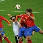 IN PUYOL WE TRUST: The least technically gifted player on the Spanish side, but the one with the biggest 'cojones'. FC Barcelona defender Carles Puyol gave Spain the push they so needed when he flew through a wall of German players and headed a rocket into the net. Spaniards will always be eternally grateful to the hairy powerhouse for how he led his team into the 2010 World Cup final.Photo: ROBERTO SCHMIDT / AFP