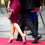 Details of Letizia's shoes and purse are seen as she arrives to a private meeting with Spanish Crown Prince Felipe (out of frame) and Peruvian President Alan Garcia (R) at the Government Palace in Lima in November 2010.Photo: Enesto Benavides/AFP