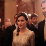 Spain's Crown Prince Felipe de Borbon (R) and Princess Letizia Ortiz (C) attend a state reception hosted by Israeli President Shimon Peres at Jerusalem's King David hotel in April 2011. Photo: Daniel Bar-on/AFP