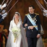 2004: Felipe and Letizia celebrate their marriage at Madrid's Almudena Cathedral.Photo: Odd Andersen/AFP
