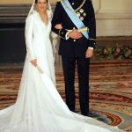 Prince Felipe of Spain and his wife Princess of Asturias Letizia Ortiz pose inside the Royal Palace in Madrid in May 2004.Photo: Odd Anderesen/POOL/AFP