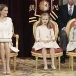 Queen Letizia with her daughters Crown Princess of Asturias Leonor and Spanish Princess Sofia sit at the Congress of Deputies. Photo: Paco Campos/AFP