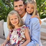 2012: Felipe poses with his two daughters Leonor and Sofia to mark the 40th birthday of their mother Letizia.Photo: Casa Real