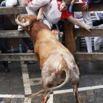 A participant is hurled up against a barrier by a Miura bull after being gored in the thigh during the last bull-run of the San Fermin Festival in PamplonaPhoto: Iñaki Vergara/AFP
