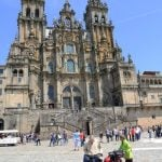 """Santiago de Compostela: Pilgrims on foot are not the only ones who can enjoy this world-famous voyage. Cyclists can choose whether to complete the full 800km (500 mile) French Way or do the minimum 200km required to obtain the precious  Pilgrimage Certificate.Photo:  <a href=""""http://www.shutterstock.com/es/pic-77845804/stock-photo-santiago-spain-may-unidentified-bike-pilgrims-arrive-to-st-james-cathedral-the-final.html?src=GikQgdoVv4PYCN0Aphmo-w-1-0"""">Cathedral Sa"""