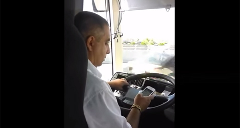 Spanish bus driver busted texting at wheel