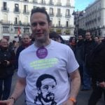 """""""There are people dying of hunger and those bloody politicians are letting it happen - they are prostituting the people"""" - Nico, who was wearing a t-shirt emblazoned with the face of the leader of Podemos, Pablo Iglesias. Photo: Jessica Jones"""