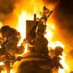 Ninots burn on the last night of the Fallas Festival in Valencia on March 19th 2015. Fallas are gigantic structures made of cardboard portraying current events and personalities in which individual figures or Ninots are placed. The Fallas are burnt in the streets of Valencia as a tribute to St Joseph, patron saint of the carpenters' guild.Photo: Jose Jordan / AFP