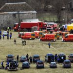 Hundreds of fire fighters and police prepare to head to the crash site in a remote area of the Alps, at 2,000 altitude.Photo: AFP