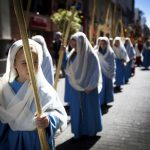 All the family get involved in the Easter processions. Here, girls hold palm leaves blessed during the morning Mass at the Cathedral of San Cristobal de La Laguna during a procession commemorating the arrival of Jesus in Jerusalem, in Tenerife.Photo: Desiree Martin