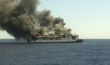 Evacuation as ferry catches fire off Valencia