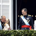 Princess Leonor gives her grandfather, the former monarch, a kiss on the day of her father's coronation as king. Juan Carlos abdicated in 2014, making way for his son to take the Spanish crown. Princess Leonor gained the title Princess of Asturias and became second in line to the Spanish throne. Photo: Gerard Julien/AFP