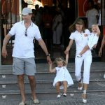 Princess Leonor on holiday in Mallorca with her parents and little sister in 2008. Photo: Jaime Reina/AFP
