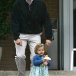 Princess Leonor arrives with her father, Prince Felipe to meet her new little sister, Princess Sofia, who was born on April 29th 2007. Photo: Philippe Demazes/AFP