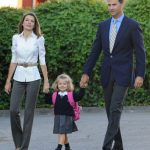 Princess Leonor arrives for her first day of school with her parents on September 15th 2008.