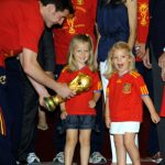 The royal family were not immune to the excitement that swept Spain after their World Cup win in 2010. Here are Princesses Leonor and Sofia celebrating with Spain's national team.