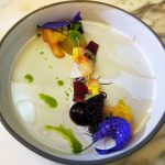 """<b>49. Quique Dacosta Restaurante</b>. At 49th place, Quique Dacosta's restaurant in Dénia, Alicante was highlighted for the chef's """"delicate, minimalist fare"""". This picture shows a cherry gazpacho and prawn confit.Photo: <a href=""""http://bit.ly/1QpQSOg"""">Inspirational Food</a> / Flickr Creative Commons."""