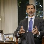 """During his first Christmas Eve message as king of Spain, Felipe called on the country to """"clip at the root of corruption"""". Unfortunately the message was overshadowed by the announcement, two days previously, that his sister, the Infanta Cristina, would be tried for tax fraud. Photo: Angel Diaz/AFP"""