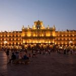 """<b>Plaza Mayor, Salamanca.</b> Located in the heart of the city, this public square is a popular gathering area with cafes, ice cream shops and more. The buildings were constructed in the traditional Spanish baroque style and made of sandstone that glows at night, giving Salamanca its nickname """"The Golden City"""".Photo: <a href=""""http://bit.ly/1GylwEe"""">PMRMaeyaert</a> / Wikimedia Commons."""