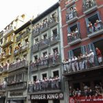 """Spectators at balconies wait for the start of the first """"encierro"""" (bull-run) of the San Fermin Festival in Pamplona, northern Spain, on July 7th.Photo: Ander Gillenea/AFP"""