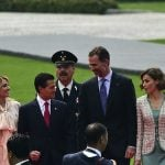 (L-R) Mexican First Lady Angelica Rivera, Mexican President Enrique Pena Nieto, King Felipe VI and Queen Letizia of Spain attend a ceremony at the Campo Marte military camp, in Mexico City on June 29th.Photo: Ronaldo Schemidt/AFP