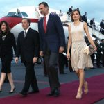 King Felipe and Queen Letizia were met by Mexican Foreign Secretary Jose Antonio Meade (2nd-L) upon their arrival at the Mexico City Airport. Photo: Ministry of Foreign Affairs/AFP