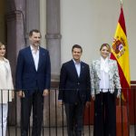 (L-R) Spain's Queen Letizia and King Felipe and Mexican President Enrique Pena Nieto and his wife Angelica Rivera pose for pictures at the colonial Museum of Guadalupe in Guadalupe, Zacatecas, Mexico, on July 1st.Photo: Hector Guerrero/AFP