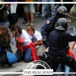 One postcard depicts horrified onlookers as police beat up a protestor. Under Spain's new citizens' security law, unauthorized protesters could be fined up to €600,000 ($663,000). Photo: The Real Spain
