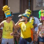 Participants in the Fair of the Pamela, sporting fancy hats, drink in Tejina, on the Spanish Canary island of Tenerife. Photo: Desiree Martin/AFP