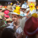 Participants in the Fair of the Pamela, sporting fancy hats, gather in Tejina, on the Spanish Canary island of Tenerife.Photo: Desiree Martin/AFP