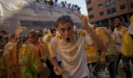 Spanish university welcomes new students with very messy initiation