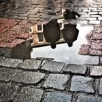 Puddle reflections in Madrid. Photo: Sara Houlison/Instagram