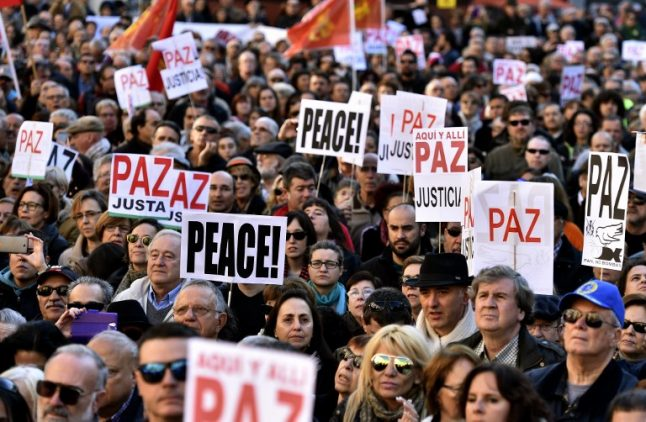5,000 march in Madrid anti-war protests as France lobbies Spain