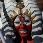 A participant dressed as Shaak Ti at the 9th Barcelona Star Wars parade.Photo: Josep Lago / AFP