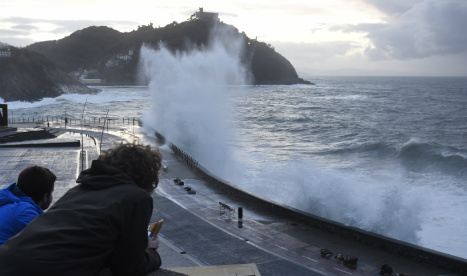 Toddler swept off beach by giant wave in northern Spain