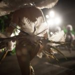 <b>Carnival of Santa Cruz de Tenerife.</b> Dancers parade in the street during the Rhythm and Harmony contest in this Canary Island celebration. The dresses are more than five meters high and over 80 kilos in weight. Photo: Desiree Martin/AFP.