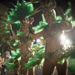 <b>Carnival of Santa Cruz de Tenerife.</b> Dancers parade in the streets on the island of Tenerife. Music and costumes inspired by Caribbean and Brazilian traditions could be heard and seen throughout the fest.Photo: Desiree Martin/AFP.
