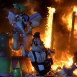 """""""Ninots"""" burn on the last night of the Fallas festival in Valencia on March 19th, 2016. Fallas are gigantic structures made of cardboard portraying current events and personalities in which individual figures called """"ninots"""" are placed.Photo: José Jordan/AFP"""